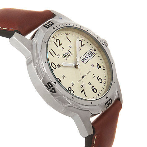 Buy Lorus RXN49BX9 Men's Sports Day Date Leather Strap Watch, Brown/Cream Online at johnlewis.com