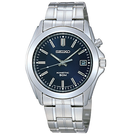 Buy Seiko SKA267P1 Men's Kinetic Bracelet Strap Watch, Silver/Blue Online at johnlewis.com
