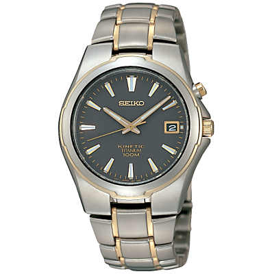 Seiko SKA214P1 Men's Kinetic Bracelet Watch, Grey/Gold