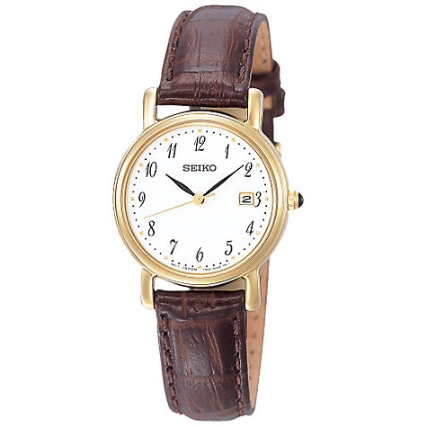 Buy Seiko SXDA14P1 Women's Leather Strap Watch, Gold/Brown Online at johnlewis.com