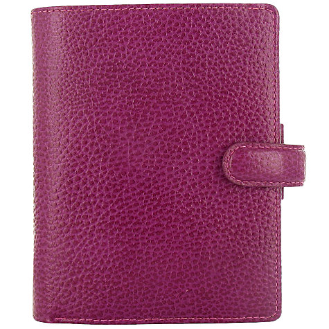 Buy Filofax Leather Finsbury Pocket Organiser, Raspberry Online at johnlewis.com