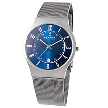 Buy Skagen 233XLTTN Men's Titanium Mesh Watch, Dark Grey/Blue Online at johnlewis.com