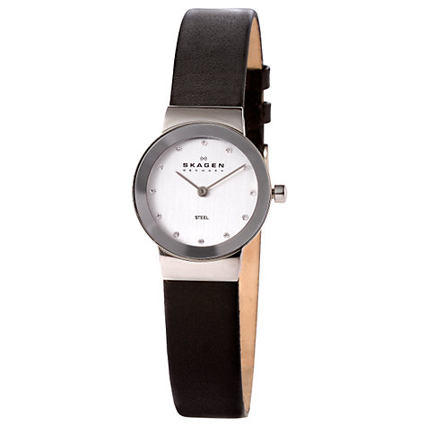 Buy Skagen 358XSSLBC Women's Leather Strap Watch, Black/White Online at johnlewis.com