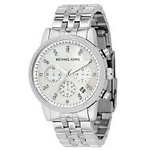 Buy Michael Kors MK5020 Women's Chronograph Stainless Steel Bracelet Watch, Silver Online at johnlewis.com