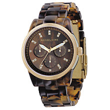 Buy Michael Kors MK5038 Women's Chronograph Watch, Tortoiseshell Online at johnlewis.com