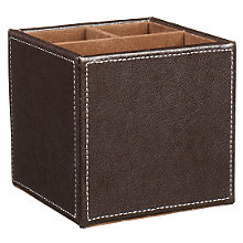 Buy John Lewis Brown Faux Leather Stitched Pen Pot Online at johnlewis.com