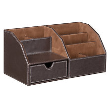 Buy John Lewis Brown Faux Leather Stitched Desk Organiser Online at johnlewis.com