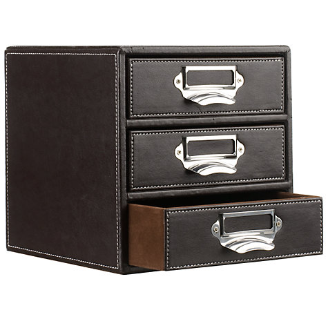 Buy John Lewis Brown Stitched 3 Drawer Filing Unit Online at johnlewis.com