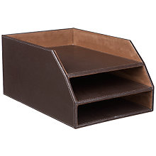 Buy John Lewis Brown Faux Leather Stitched 3 Tier Letter Tray Online at johnlewis.com