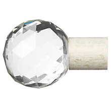 Buy John Lewis Steel Crystal Ball Finial, Cream / Gold, 19mm Online at johnlewis.com