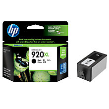 Buy HP 920XL Officejet Printer Cartridge, Black, CD975AE Online at johnlewis.com