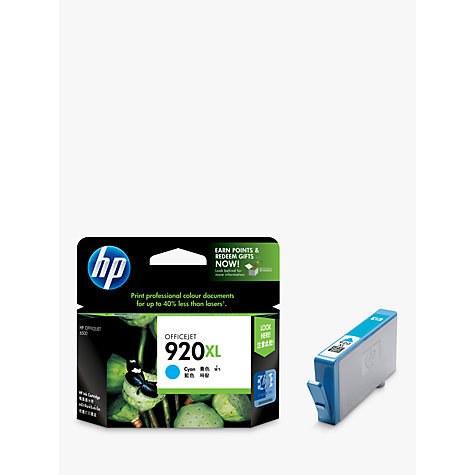 Buy HP 920XL Officejet Printer Cartridge, Cyan, CD972AE Online at johnlewis.com