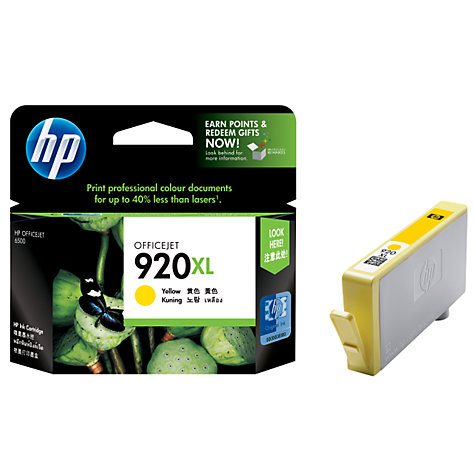 Buy HP 920XL Officejet Printer Cartridge, Yellow, CD974AE Online at johnlewis.com