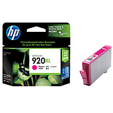 Buy HP 920XL Officejet Printer Cartridge, Magenta, CD973AE Online at johnlewis.com