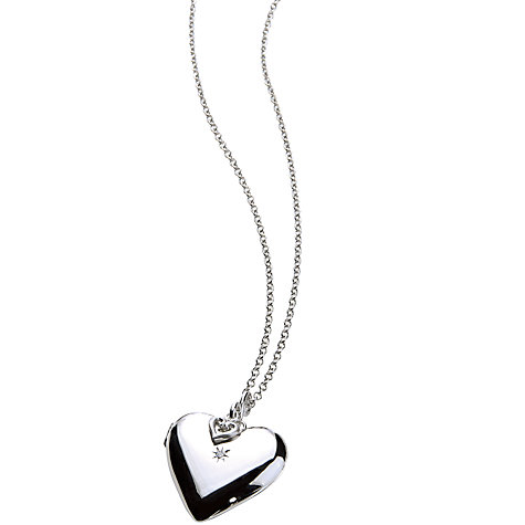 Buy Hot Diamonds Giselle Starry Heart Sterling Silver Locket Necklace Online at johnlewis.com