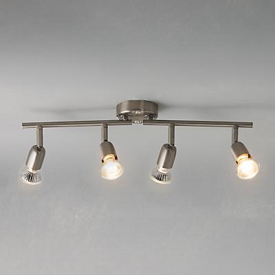 John Lewis The Basics Keeley 4 LED Spotlight Ceiling Bar, Satin Nickel