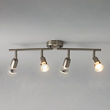 Buy John Lewis The Basics Keeley 4 LED Spotlight Ceiling Bar, Satin Nickel Online at johnlewis.com