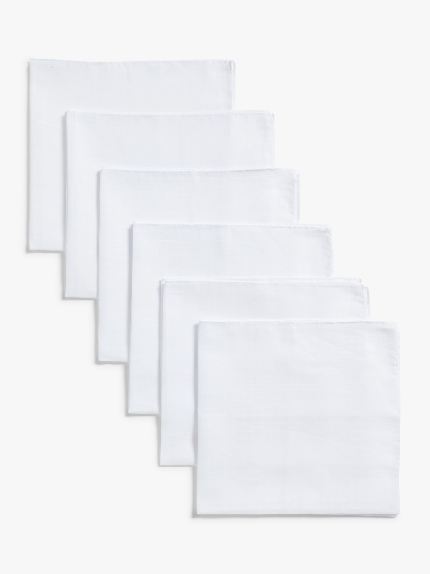 John Lewis Muslin Squares, Pack of 6, White