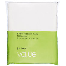 Buy John Lewis Value Fitted Cot Sheets, 60 x 120cm, Pack of 3, White Online at johnlewis.com