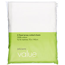 Buy John Lewis The Basics Fitted Cotbed Sheets, 70 x 140cm, Pack of 3, White Online at johnlewis.com