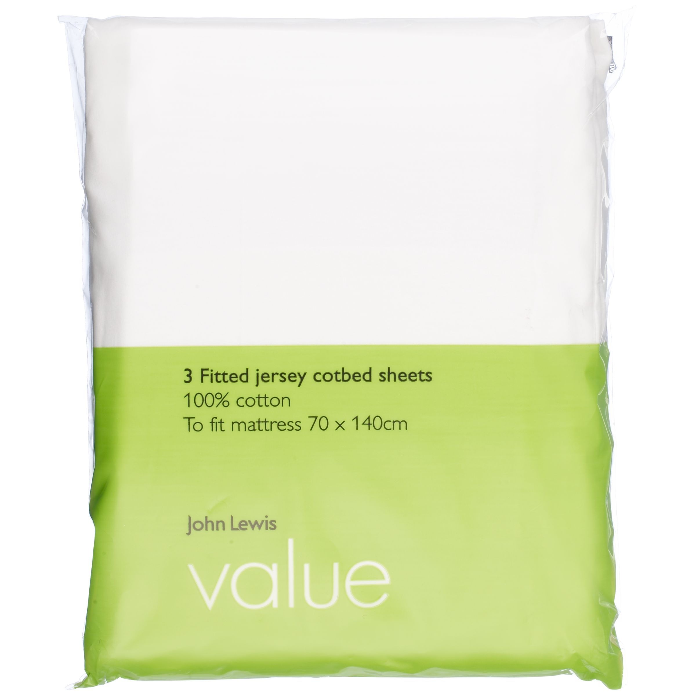 Value Fitted Cotbed Sheets, 70 x