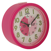Buy Lorus Tell the Time Clock, Pink Online at johnlewis.com