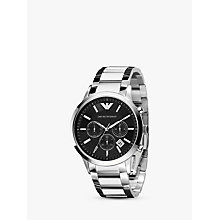 Buy Emporio Armani AR2434 Men's Chronograph Bracelet Strap Watch, Silver/Black Online at johnlewis.com