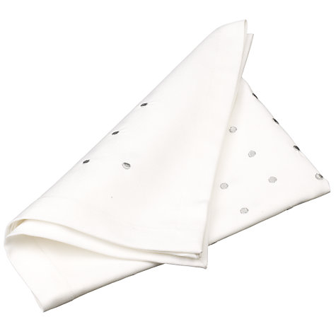 Buy John Lewis Dots Napkin, White / Silver Online at johnlewis.com