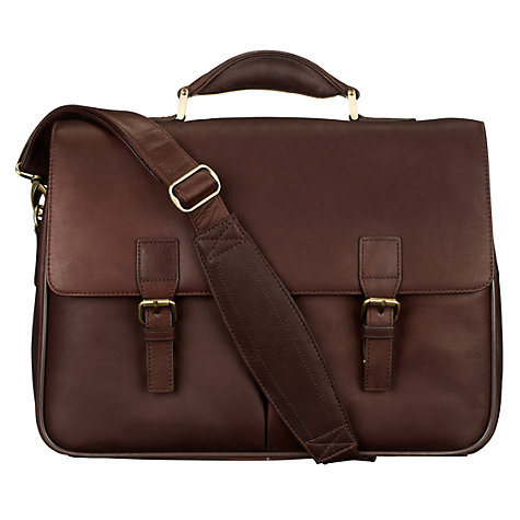 Buy John Lewis Strasbourg Leather Laptop Briefcase, Brown Online at johnlewis.com