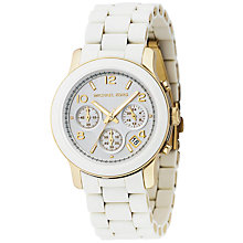 Buy Michael Kors MK5145 Women's Chronograph Watch, White Online at johnlewis.com