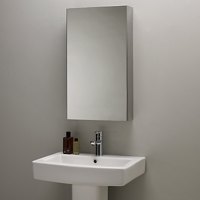 John Lewis Single Mirrored Bathroom Cabinet, Large, Stainless Steel