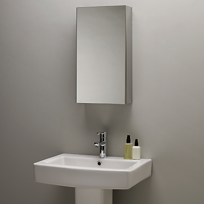 John Lewis Single Mirrored Bathroom Cabinet, Small, Stainless Steel