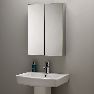 John Lewis Double Mirrored Bathroom Cabinet, Stainless Steel
