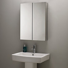 Buy John Lewis Double Mirrored Bathroom Cabinet, Stainless Steel Online at johnlewis.com