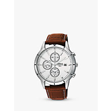 Buy Lorus RF325BX9 Men's Chronograph Date Leather Strap Watch, Brown/White Online at johnlewis.com