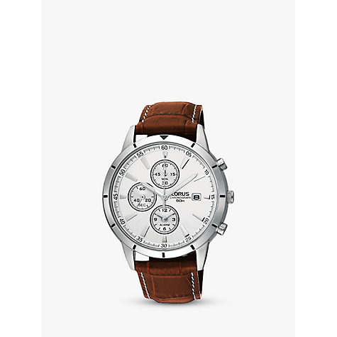 Buy Lorus RF325BX9 Chronograph Men's Leather Watch, Brown Online at johnlewis.com