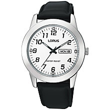 Buy Lorus RJ633AX9 Classic Men's Leather Strap Watch, Black Online at johnlewis.com