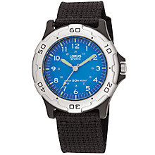 Buy Lorus RRS59FX9 Boy's Fabric Strap Watch, Black/Blue Online at johnlewis.com