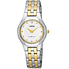 Buy Lorus RRW03DX9 Women's Crystal Set Two-Tone Bracelet Watch Online at johnlewis.com