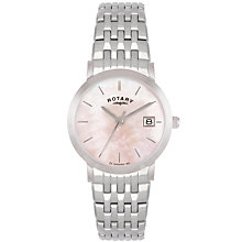 Buy Rotary LB02622/07 Women's Mother of Pearl Bracelet Watch, Silver/Pink Online at johnlewis.com