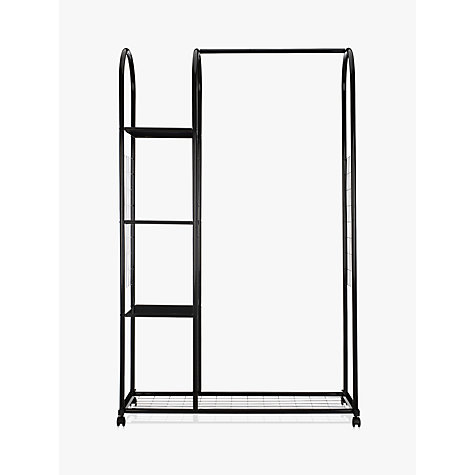 Buy John Lewis Clothes Rail with Shelf Unit, Black Online at johnlewis.com