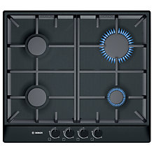 Buy Bosch PCP616B90E Gas Hob, Black Online at johnlewis.com