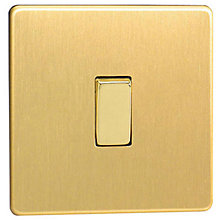 Buy Oxford Light Switch, 1 Gang 2 Way Rocker, Brushed Brass Online at johnlewis.com
