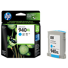 Buy HP 940XL Officejet Printer Cartridge, Cyan, C4907AE Online at johnlewis.com