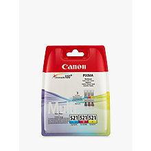 Buy Canon Inkjet Cartridges, CL-521, Pack of 3 Online at johnlewis.com