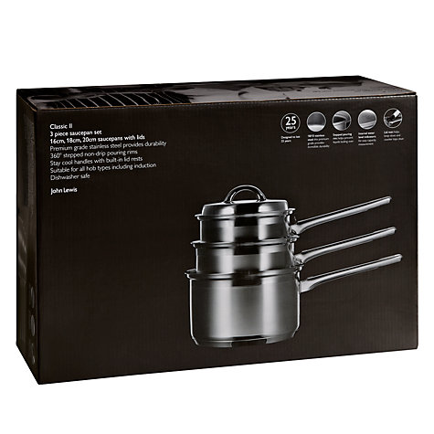Buy John Lewis Classic II Lidded Saucepan Set, 3 Piece Online at johnlewis.com