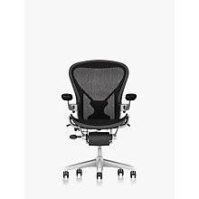 Buy Herman Miller Aeron Office Chair, Size B, Polished Aluminium Online at johnlewis.com