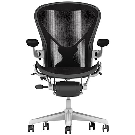 Buy Herman Miller Aeron Office Chair, Size A, Polished Aluminium Online at johnlewis.com