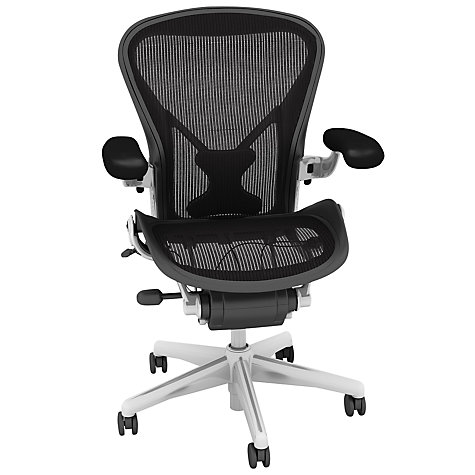 Buy Herman Miller Aeron Office Chair, Size C, Polished Aluminium Online at johnlewis.com