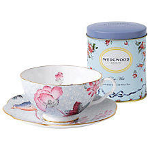 Buy Wedgwood Cuckoo Teacup and Saucer, Blue + FREE Tea Caddy Online at johnlewis.com